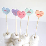 Conversation heart treat toppers
