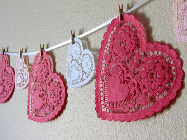 Doily heart garland