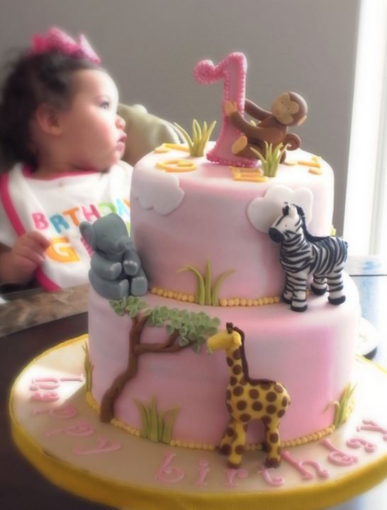 Girls Safari birthday cake