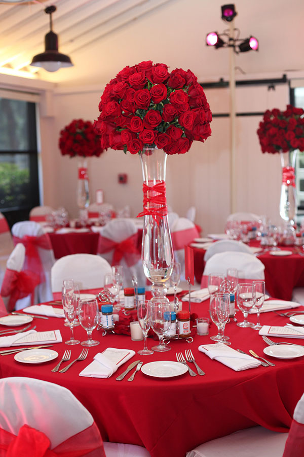 Gorgeous Tall Red Rose centerpiece