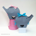 Grey elephant favor boxes for a baby shower!