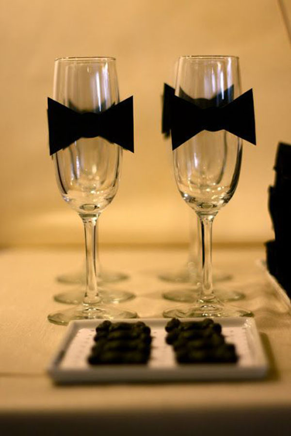 Love these tuxedo champagne glasses!