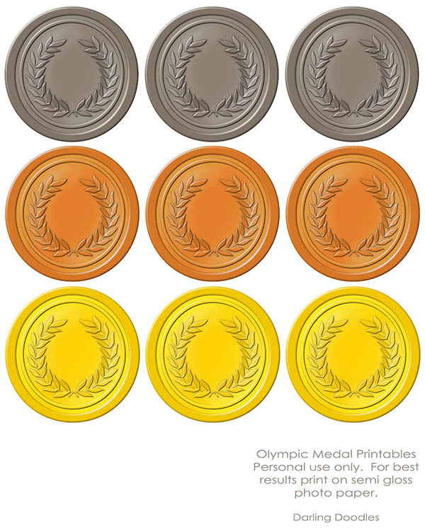 Olympic Gold medal printables