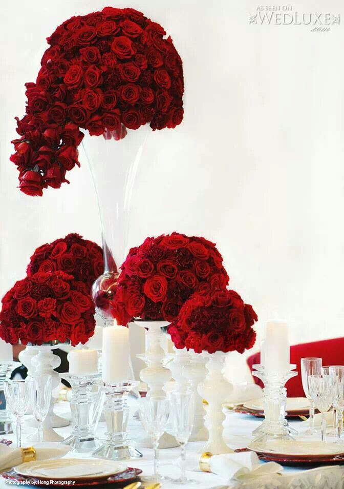 Inspiring beautiful red rose centerpieces