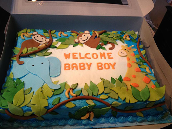 pics photos animial safari baby shower cake for boys