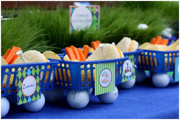 Cute use of gold balls in these golf party snacks!