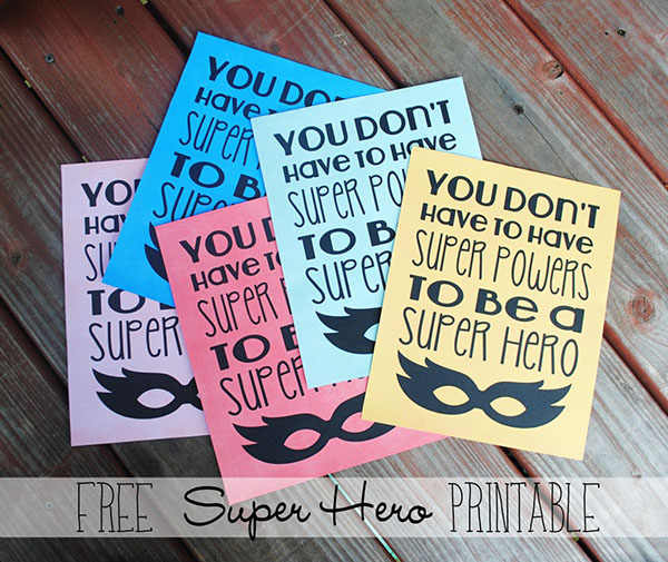 Free super hero printable