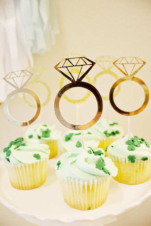 Gold Diamond Ring Cupcake toppers for an lovely Engagement Party Detail! B. Lovely Events