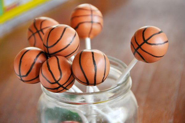 Great way to display basketball cake pops!