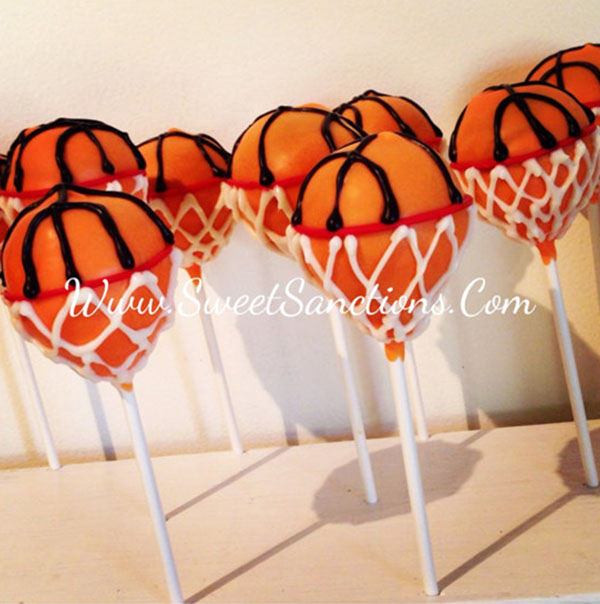 How adorable are these basketball cake pops