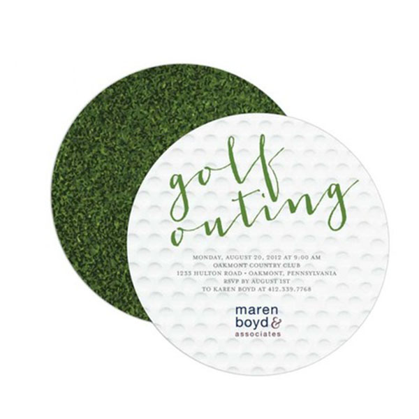 We just love this cute golf party invitation in the shape of a golf