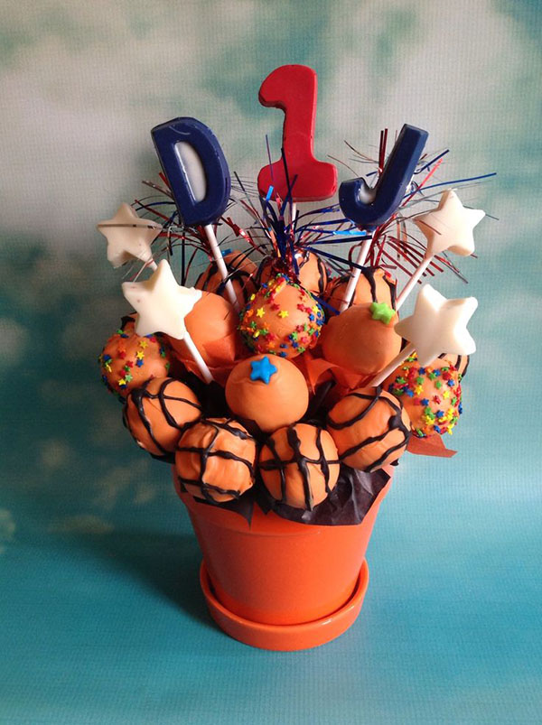 Love this baskeyball cake pops display!