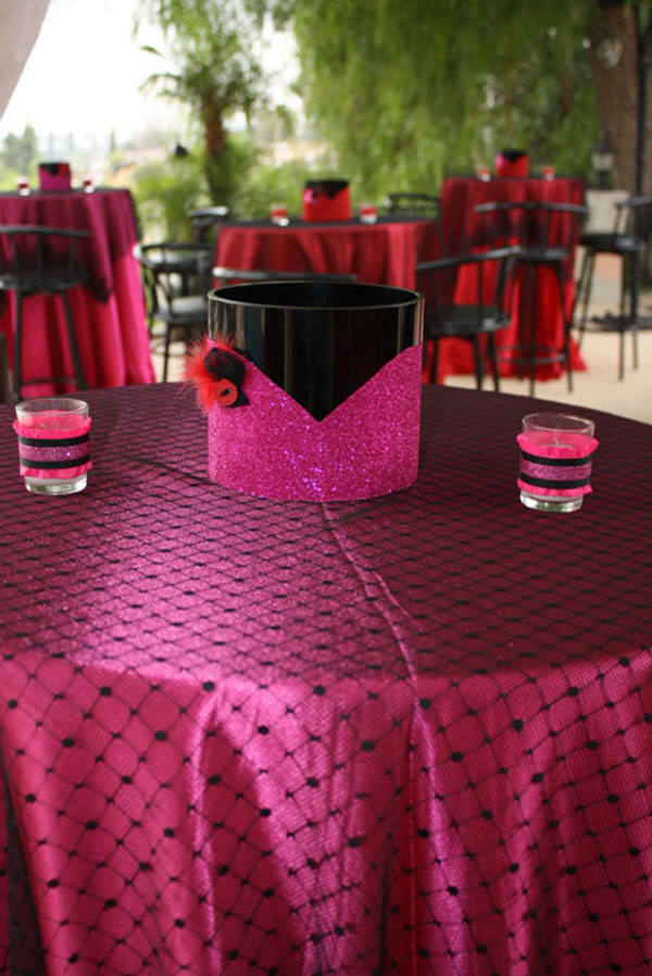 Lovely burlesque party tables for the 30th birthday party- B. Lovely Events
