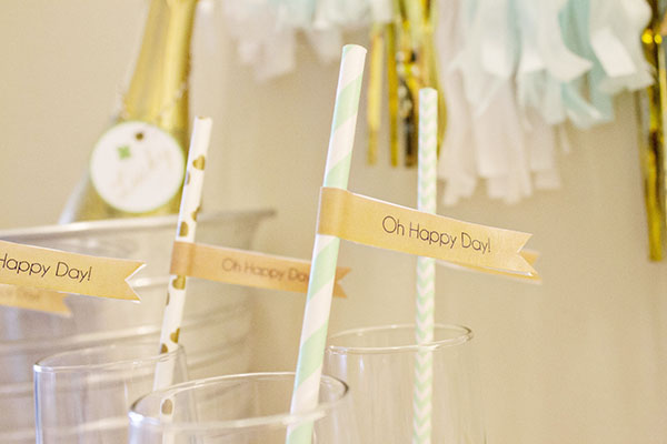 Oh Happy Day Straw Flags For Our Lucky In Love Engagement Party. - B. Lovely Events