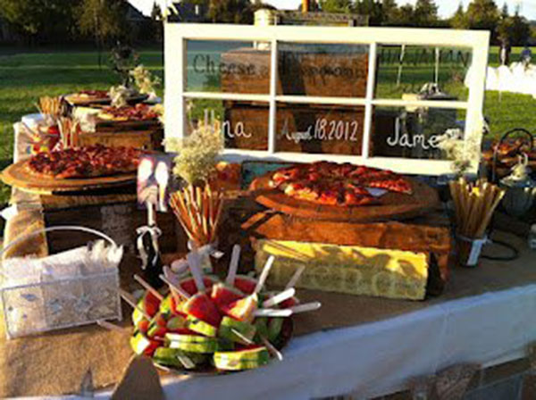 Rustic Pizza Bar For  A Wedding