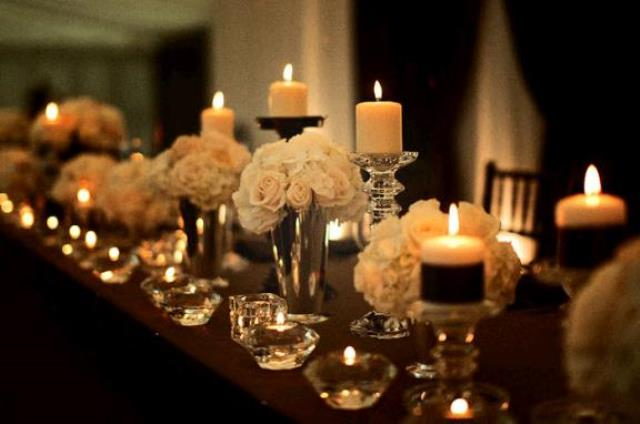 Simple elegant wedding tablescape