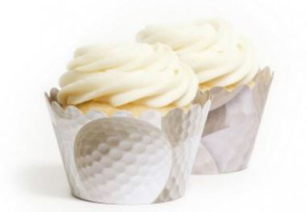 These golf ball cupcake wrappers are perfect for a golf party!