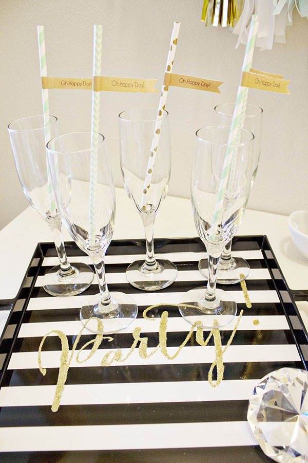 We Love this gold glitter party serving tray at this Engagement Party! -B. Lovely Events