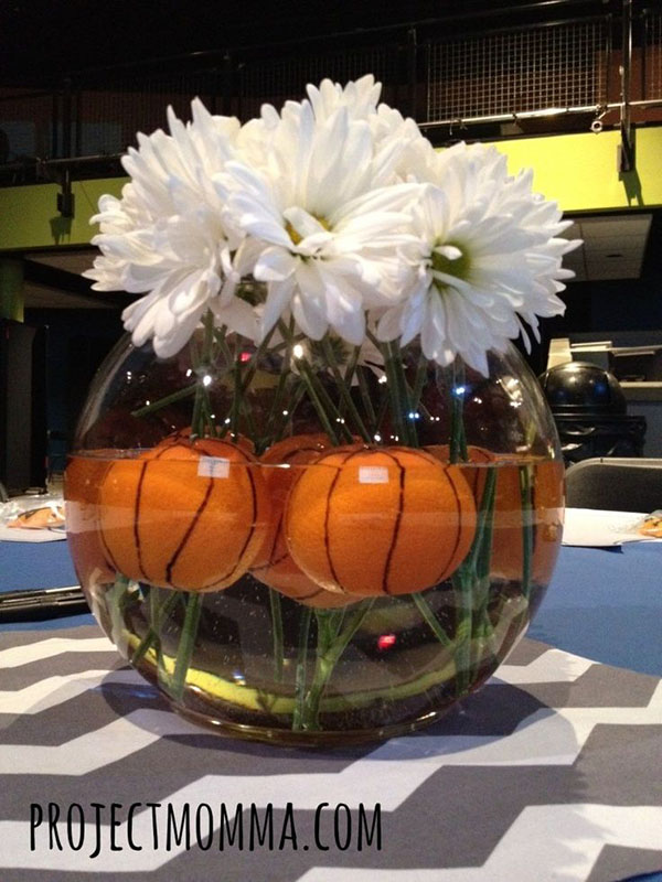 Lovely basketball centerpieces b events