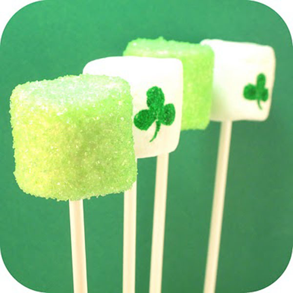 marshmallow St. Patrick's Day lollipops!