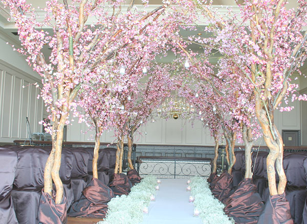 Cherry blossoms down the aisle