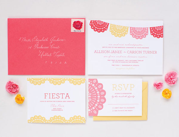 Cute Mexican themed wedding invitations