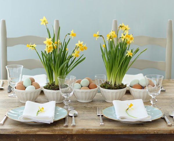 Daffodil centerpieces for Easter