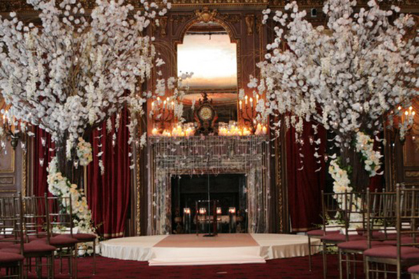 Love this wedding with White blossoming trees!