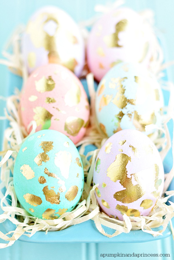 Pastel and gold leaf Easter eggs!