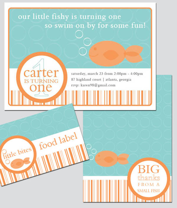Adorable goldfish party invites!