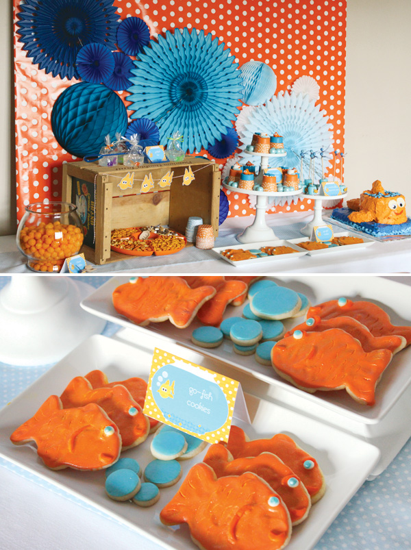 Adorable goldfish party table and cookies!
