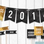 Free black and gold grad party printables