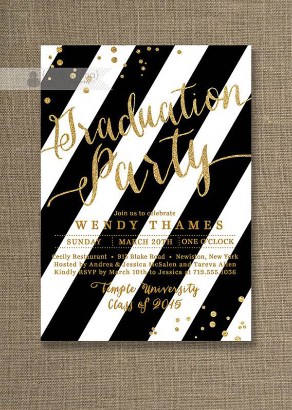 Gold glitter and black graduation invitation