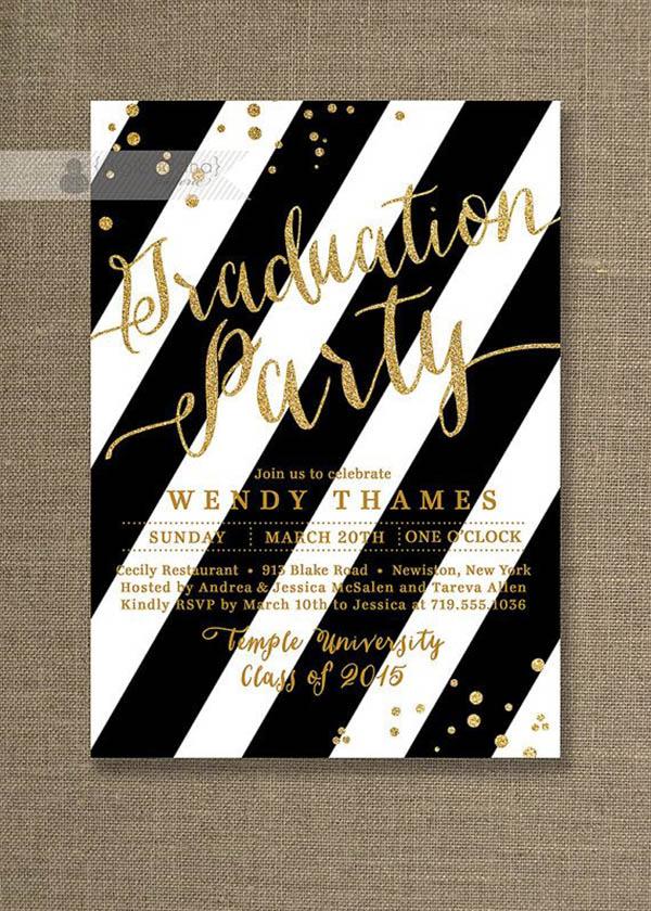 Gold glitter and black graduation invitation