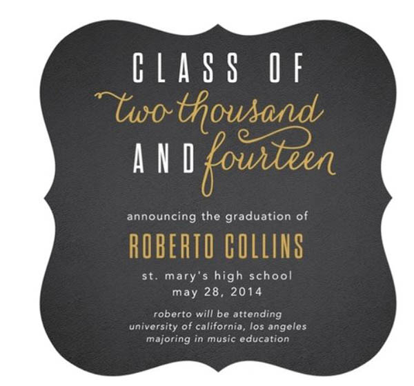 Lovely Black and Gold Graduation invitation