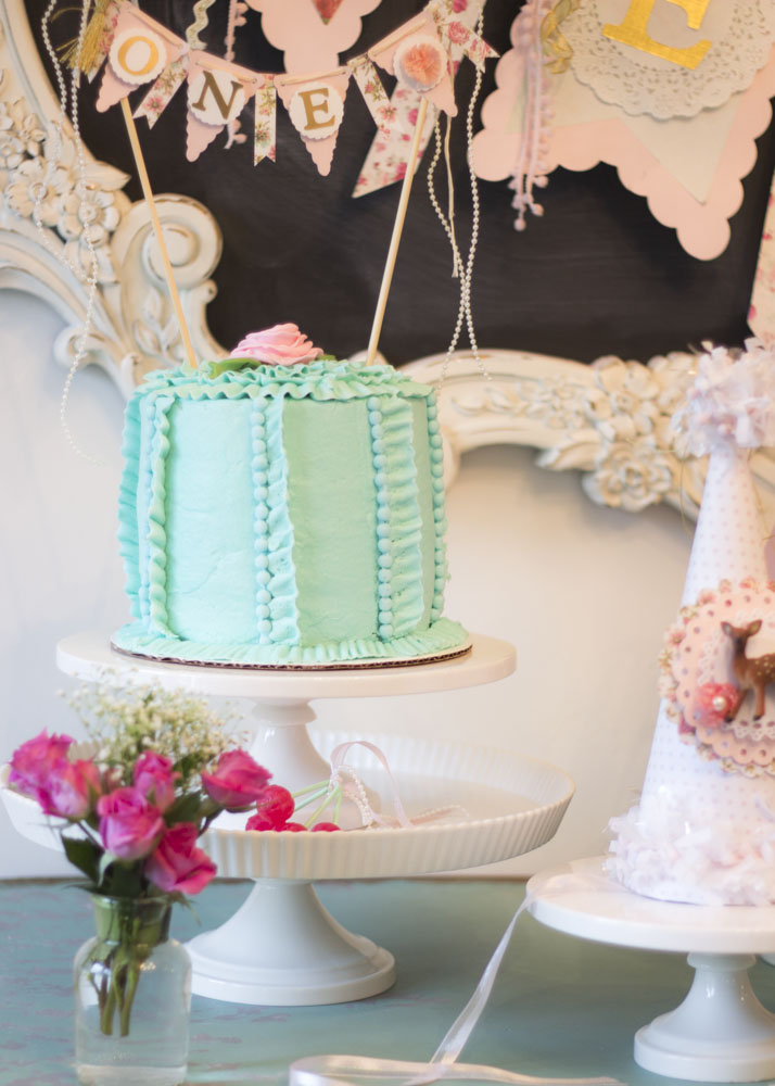 Mint and Pink first birthday cake- B. Lovely Events