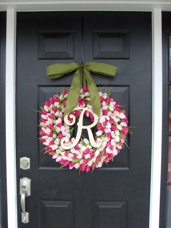 Pink Tulip Mother's Day monogram wreath!
