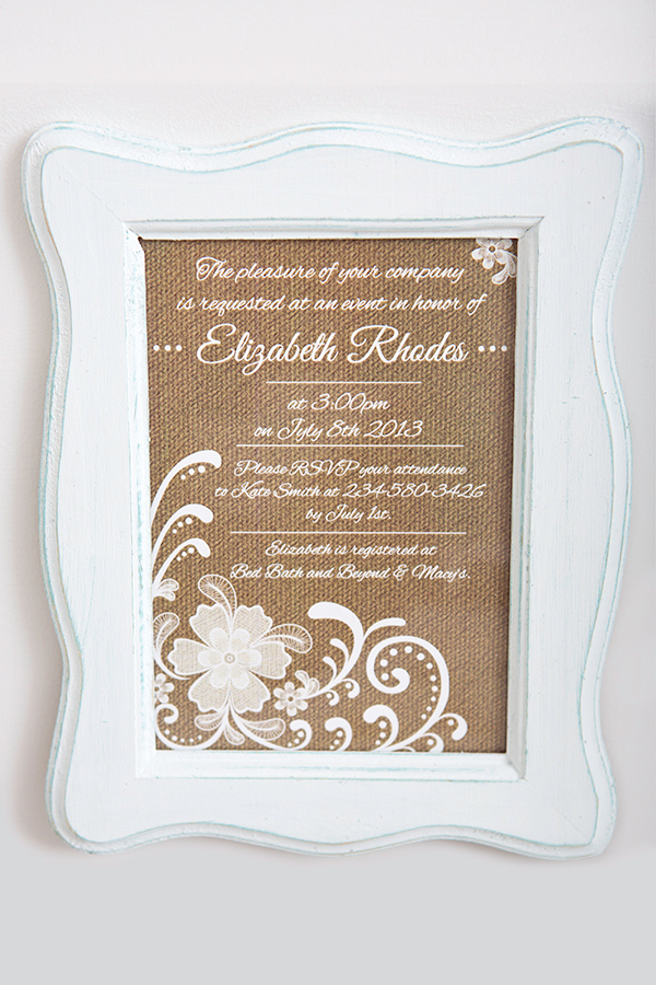 Vintage Burlap Bridal Shower Invitation