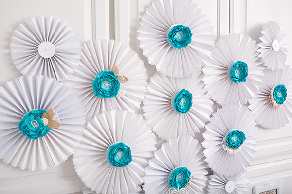 White And Blue Pinwheel Decorations