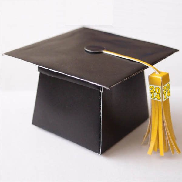 black and gold Graduation Cap card box