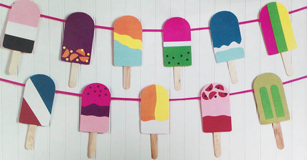 Cute and Colorful popsicle garland for a summer party!