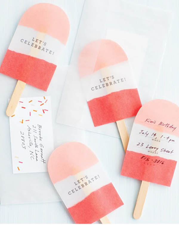 Darling popsicle invitations for a summer party