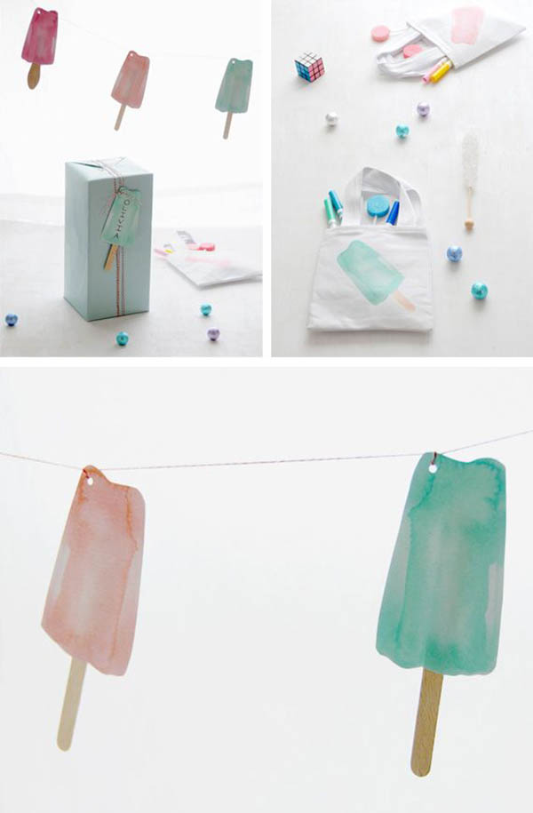 Love the pastel watercolor feel of these popsicle ideas!