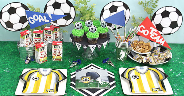 Love this festive soccer party table
