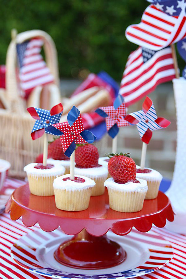Lovely red white and blue cupcakes