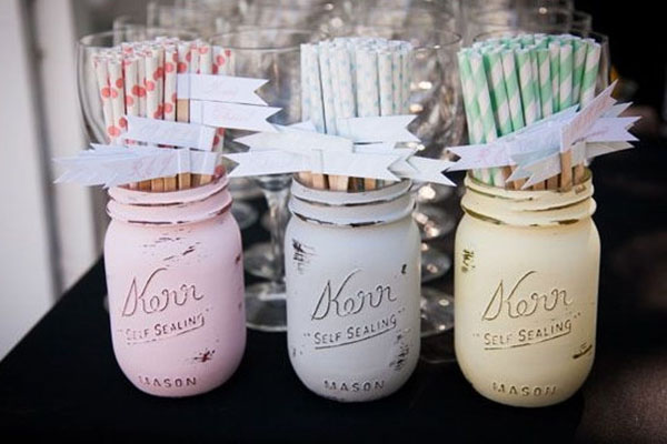 Pastel Wedding straws- so cute!