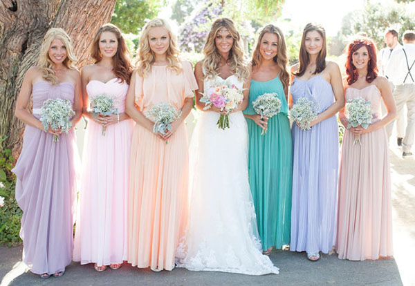 Pastel wedding bridesmaid dresses