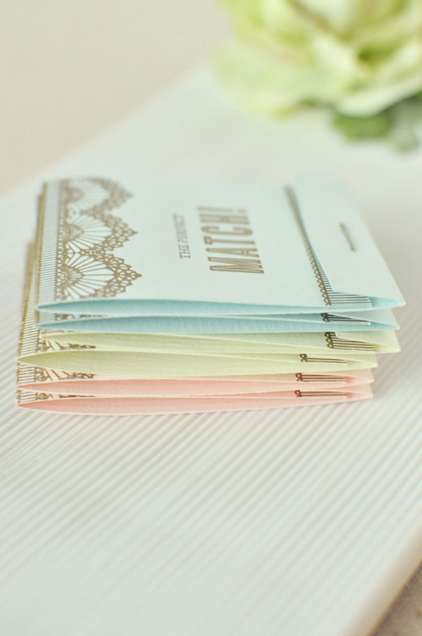 Pastel wedding match books