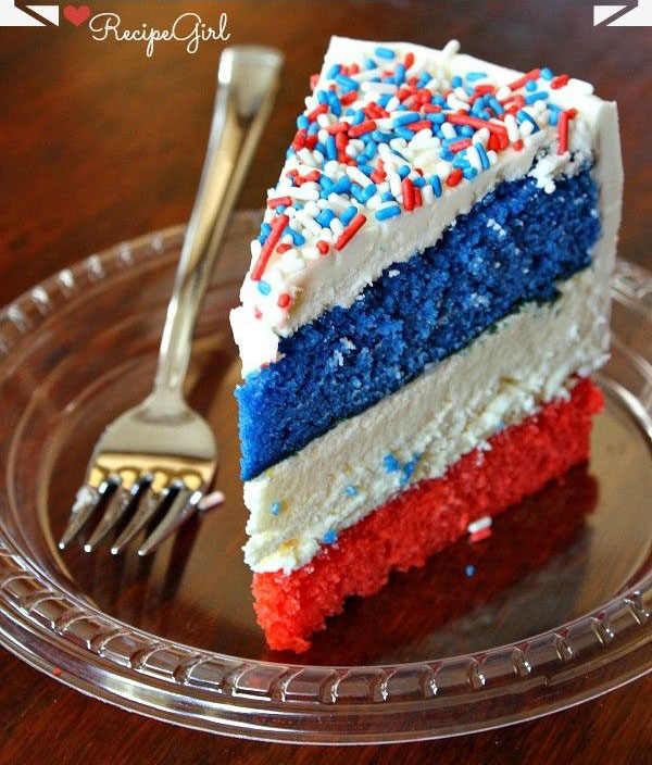 Red white and blue cake for 4th of july!