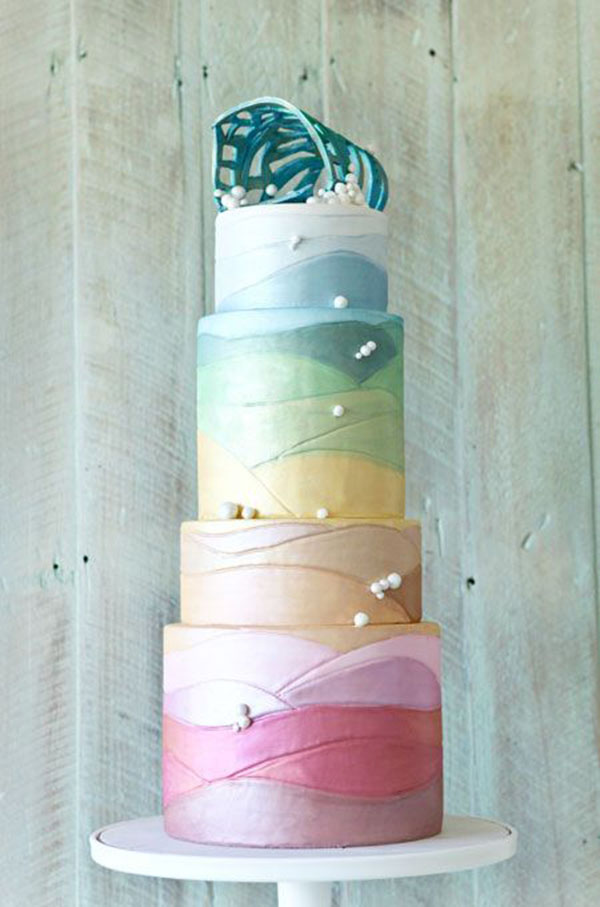Tall Pastel Wedding Cake